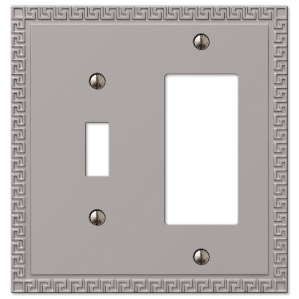 Greek Key Satin Nickel Cast - 1 Toggle / 1 Rocker Wallplate - Wallplate Warehouse