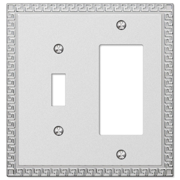 Greek Key Frosted Chrome Cast - 1 Toggle / 1 Rocker Wallplate - Wallplate Warehouse