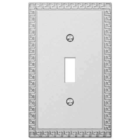 Greek Key Frosted Chrome Cast - 1 Toggle Wallplate - Wallplate Warehouse