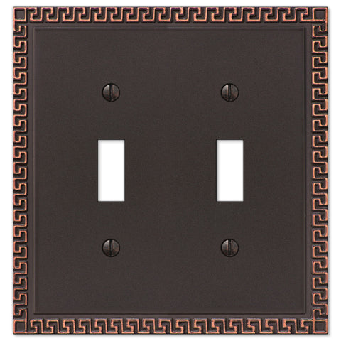 Greek Key Aged Bronze Cast - 2 Toggle Wallplate - Wallplate Warehouse