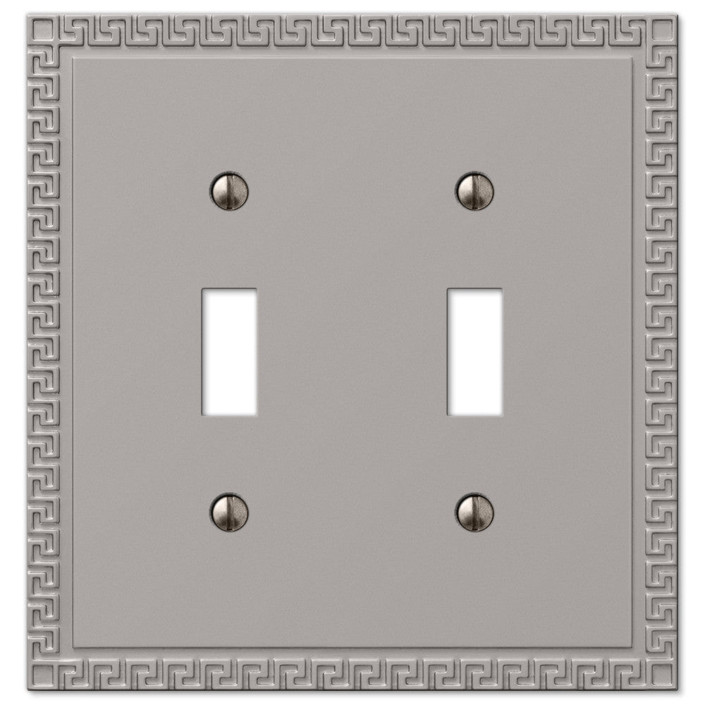 Greek Key Satin Nickel Cast - 2 Toggle Wallplate - Wallplate Warehouse