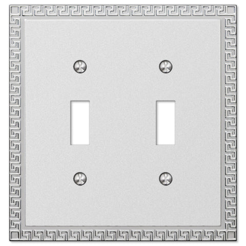 Greek Key Frosted Chrome Cast - 2 Toggle Wallplate - Wallplate Warehouse