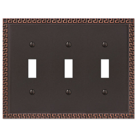 Greek Key Aged Bronze Cast - 3 Toggle Wallplate - Wallplate Warehouse
