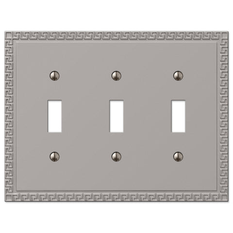 Greek Key Satin Nickel Cast - 3 Toggle Wallplate - Wallplate Warehouse