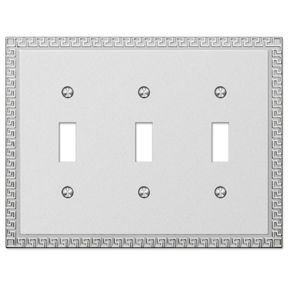Greek Key Frosted Chrome Cast - 3 Toggle Wallplate - Wallplate Warehouse