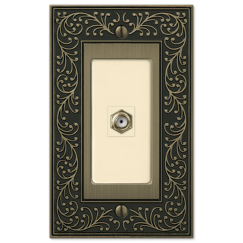 English Garden Brushed Brass Cast - 1 Cable Jack Wallplate - Wallplate Warehouse