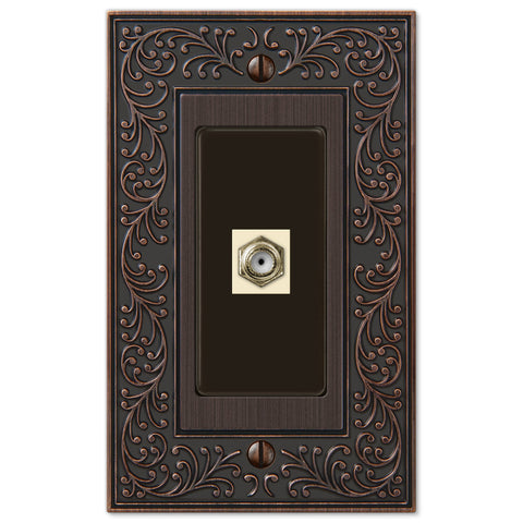 English Garden Aged Bronze Cast - 1 Cable Jack Wallplate - Wallplate Warehouse