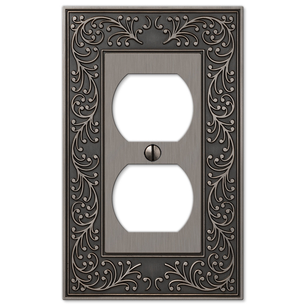 English Garden Antique Nickel Cast - 1 Duplex Outlet Wallplate - Wallplate Warehouse