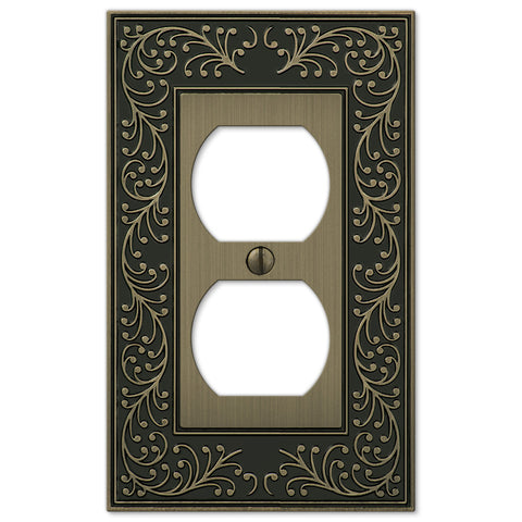 English Garden Brushed Brass Cast - 1 Duplex Outlet Wallplate - Wallplate Warehouse