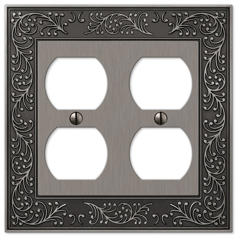 English Garden Antique Nickel Cast - 2 Duplex Outlet Wallplate - Wallplate Warehouse