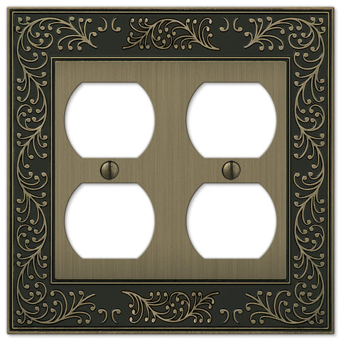 English Garden Brushed Brass Cast - 2 Duplex Outlet Wallplate - Wallplate Warehouse