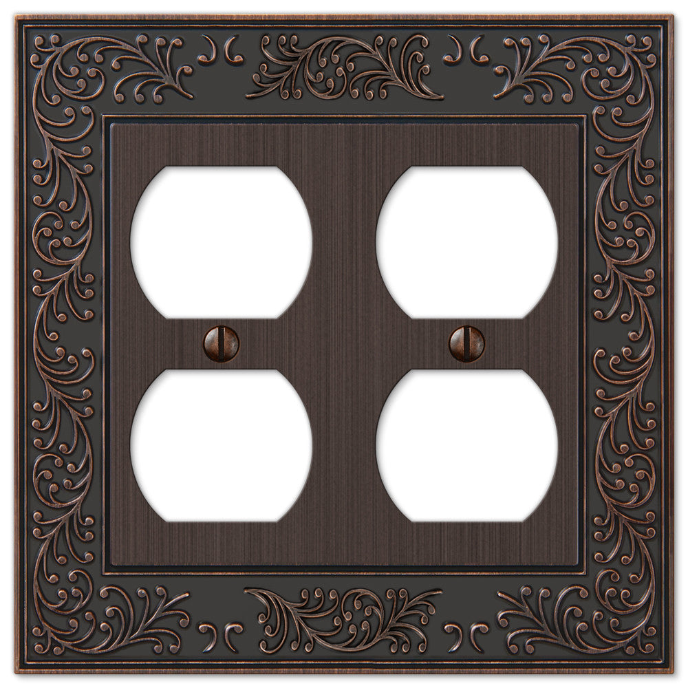English Garden Aged Bronze Cast - 2 Duplex Outlet Wallplate - Wallplate Warehouse