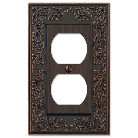 English Garden Aged Bronze Cast - 1 Duplex Outlet Wallplate - Wallplate Warehouse