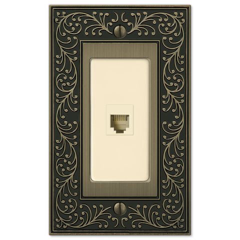 English Garden Brushed Brass Cast - 1 Phone Jack Wallplate - Wallplate Warehouse
