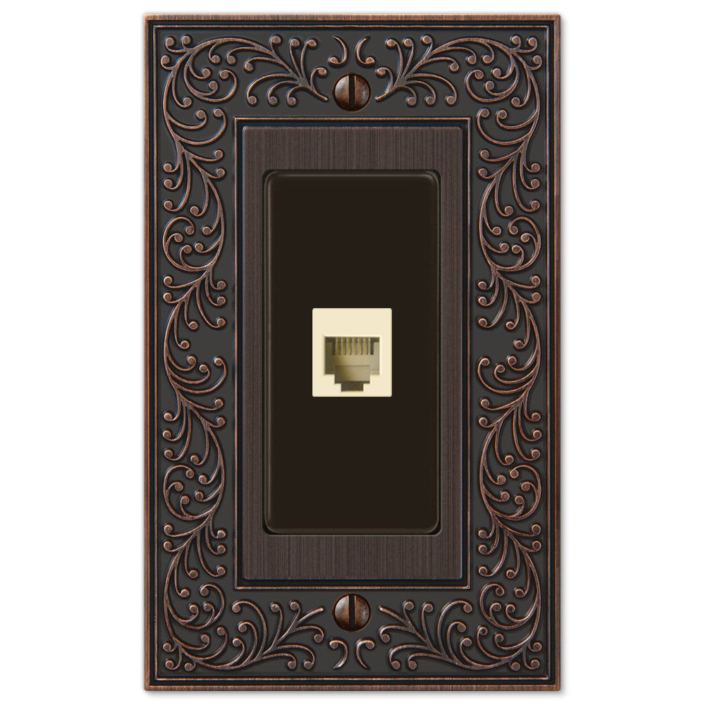English Garden Aged Bronze Cast - 1 Phone Jack Wallplate - Wallplate Warehouse