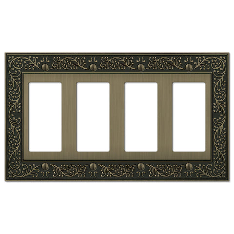 English Garden Brushed Brass Cast - 4 Rocker Wallplate - Wallplate Warehouse