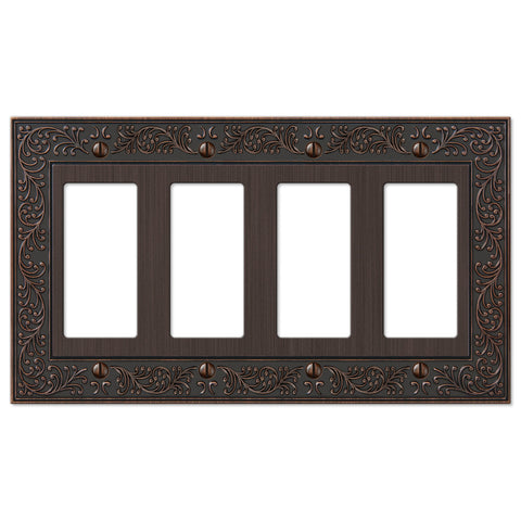 English Garden Aged Bronze Cast - 4 Rocker Wallplate - Wallplate Warehouse