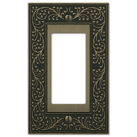 English Garden Brushed Brass Cast - 1 Rocker Wallplate - Wallplate Warehouse