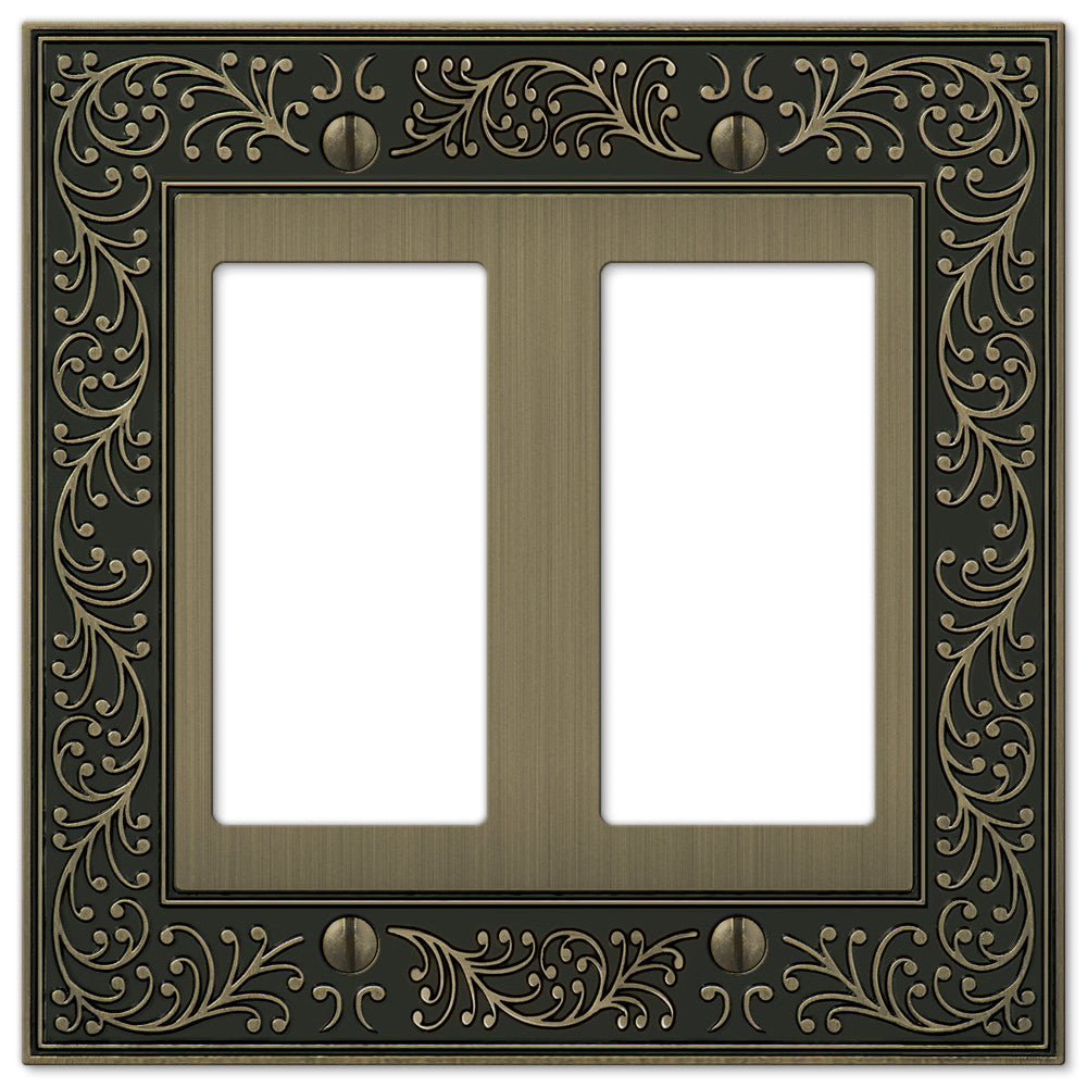 English Garden Brushed Brass Cast - 2 Rocker Wallplate - Wallplate Warehouse