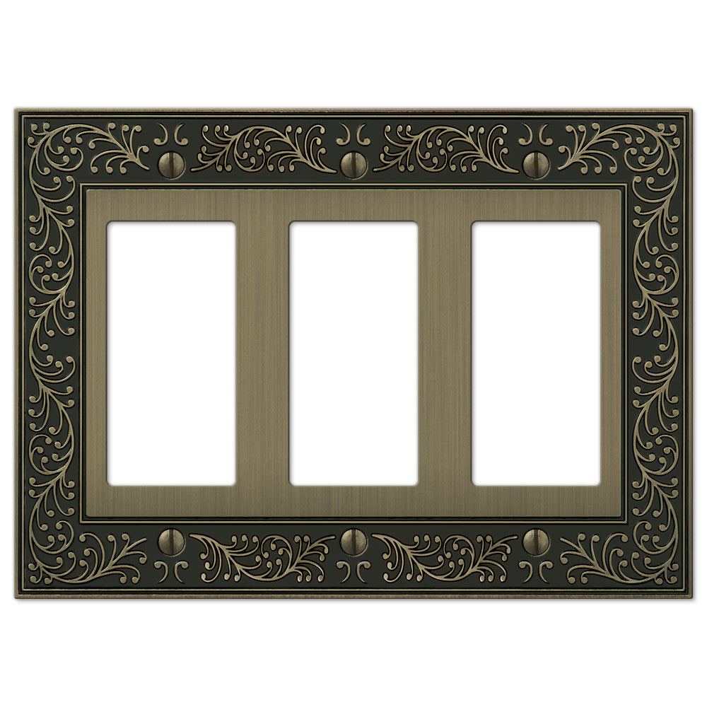 English Garden Brushed Brass Cast - 3 Rocker Wallplate - Wallplate Warehouse