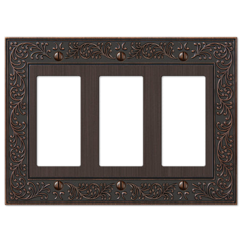 English Garden Aged Bronze Cast - 3 Rocker Wallplate - Wallplate Warehouse