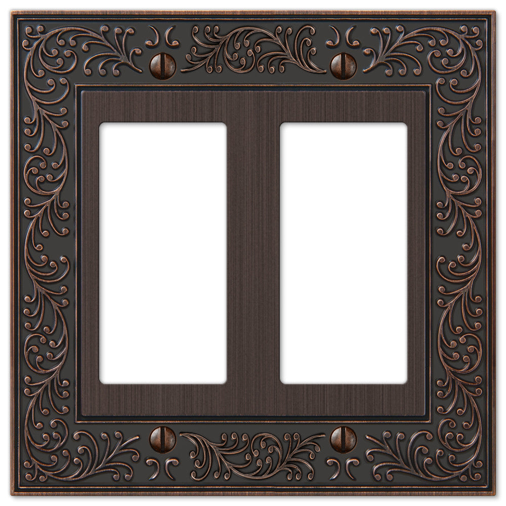 English Garden Aged Bronze Cast - 2 Rocker Wallplate - Wallplate Warehouse