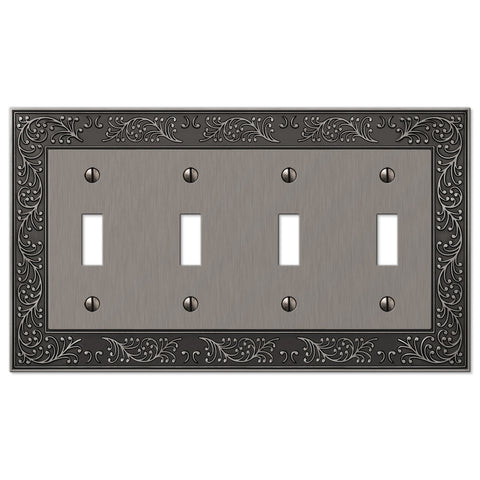 English Garden Antique Nickel Cast - 4 Toggle Wallplate - Wallplate Warehouse