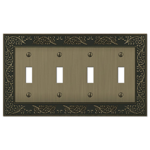 English Garden Brushed Brass Cast - 4 Toggle Wallplate - Wallplate Warehouse