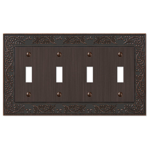 English Garden Aged Bronze Cast - 4 Toggle Wallplate - Wallplate Warehouse