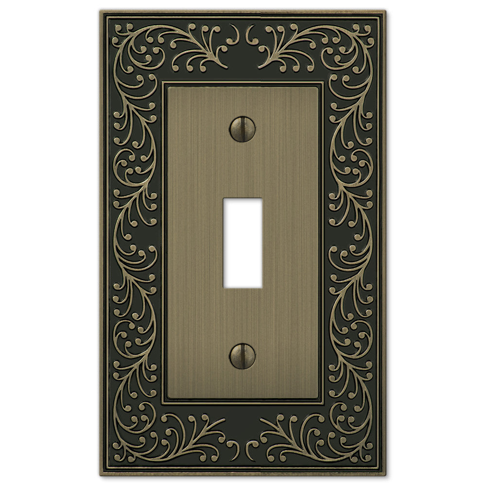 English Garden Brushed Brass Cast - 1 Toggle Wallplate - Wallplate Warehouse