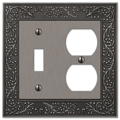 English Garden Antique Nickel Cast - 1 Toggle / 1 Duplex Outlet Wallplate - Wallplate Warehouse
