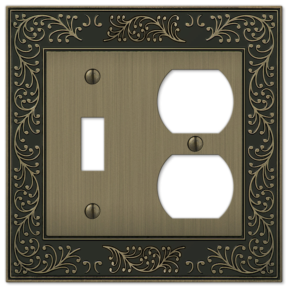 English Garden Brushed Brass Cast - 1 Toggle / 1 Duplex Outlet Wallplate - Wallplate Warehouse