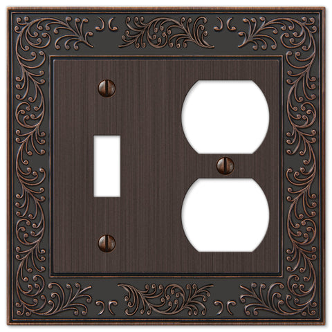 English Garden Aged Bronze Cast - 1 Toggle / 1 Duplex Outlet Wallplate - Wallplate Warehouse