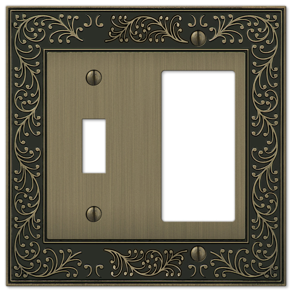 English Garden Brushed Brass Cast - 1 Toggle / 1 Rocker Wallplate - Wallplate Warehouse