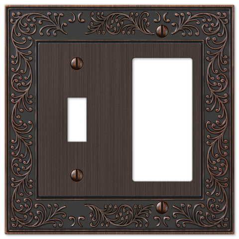 English Garden Aged Bronze Cast - 1 Toggle / 1 Rocker Wallplate - Wallplate Warehouse