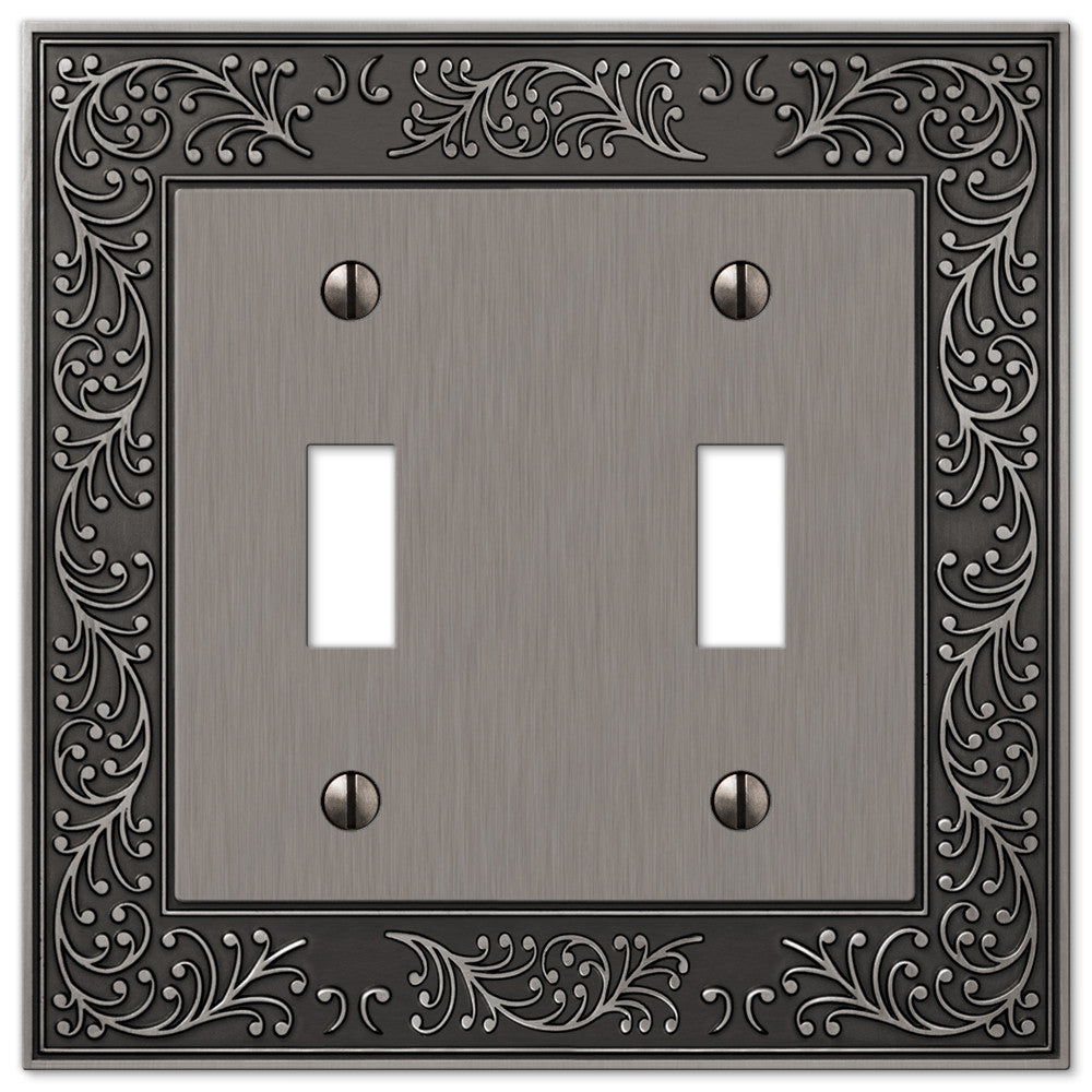 English Garden Antique Nickel Cast - 2 Toggle Wallplate - Wallplate Warehouse