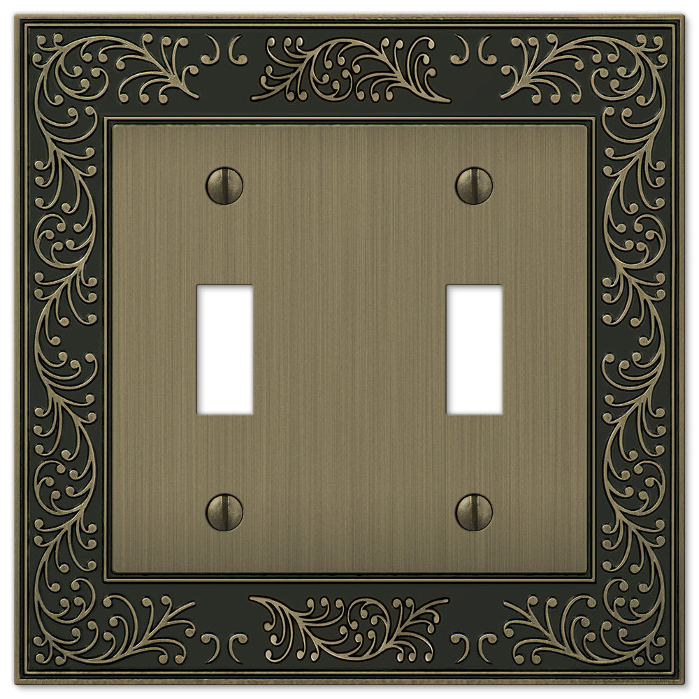 English Garden Brushed Brass Cast - 2 Toggle Wallplate - Wallplate Warehouse