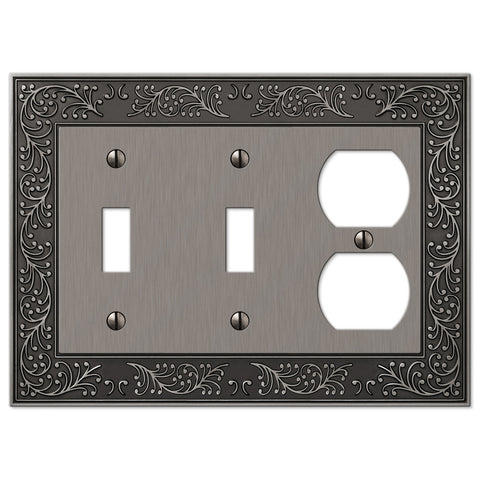 English Garden Antique Nickel Cast - 2 Toggle / 1 Duplex Outlet Wallplate - Wallplate Warehouse