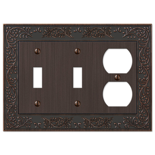English Garden Aged Bronze Cast - 2 Toggle / 1 Duplex Outlet Wallplate - Wallplate Warehouse