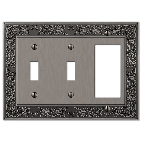 English Garden Antique Nickel Cast - 2 Toggle / 1 Rocker Wallplate - Wallplate Warehouse