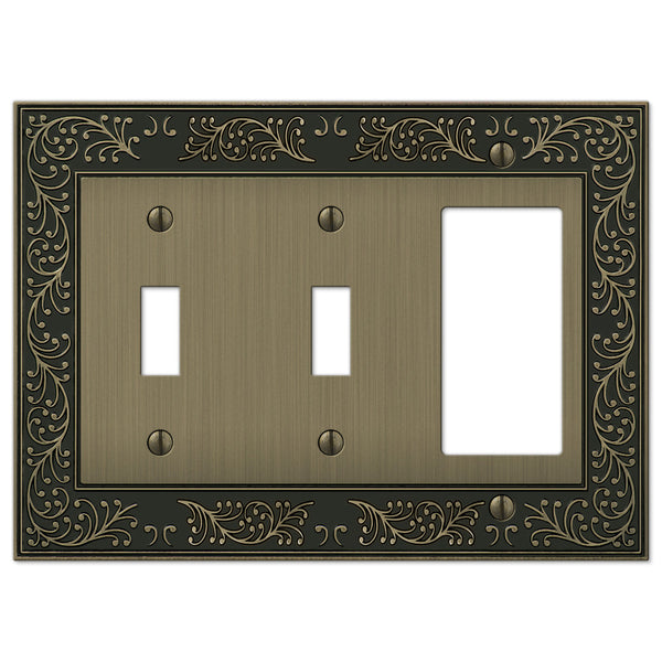 English Garden Brushed Brass Cast - 2 Toggle / 1 Rocker Wallplate - Wallplate Warehouse
