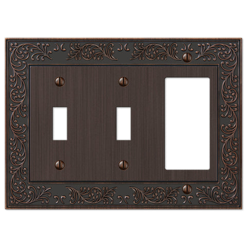 English Garden Aged Bronze Cast - 2 Toggle / 1 Rocker Wallplate - Wallplate Warehouse