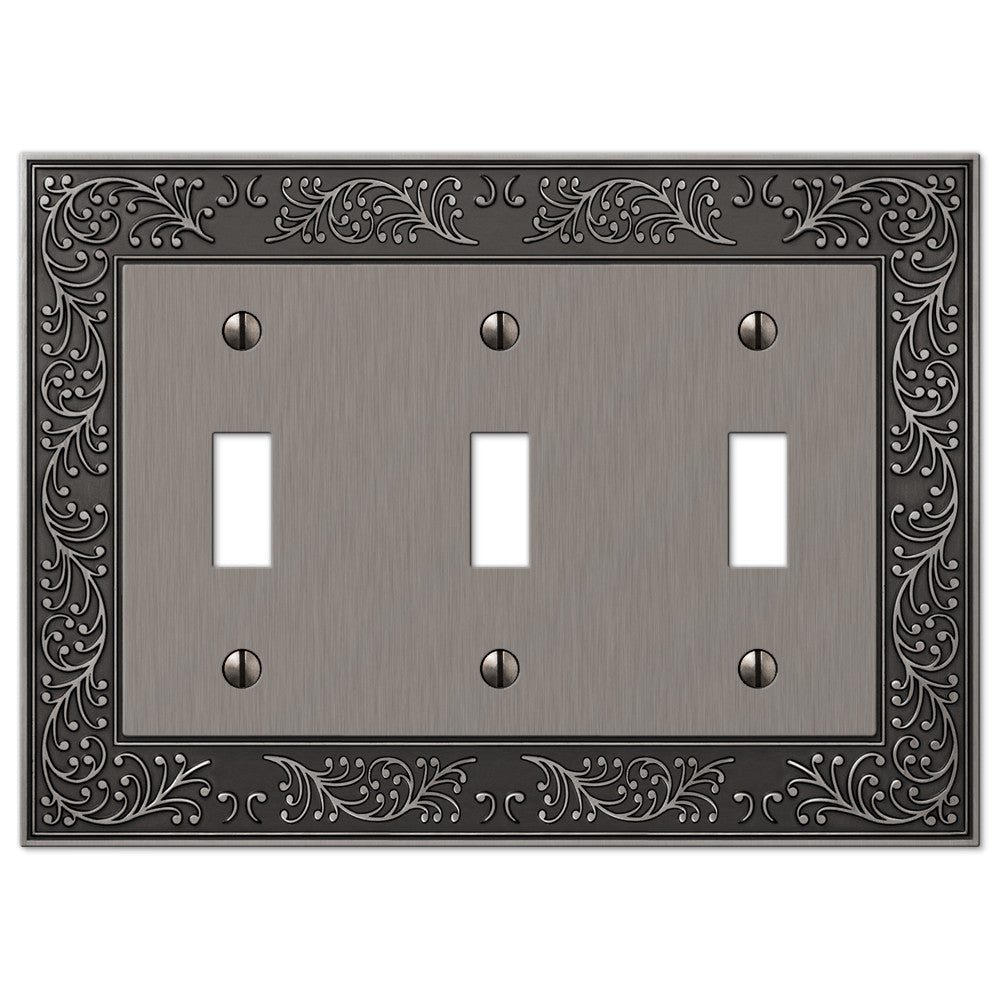 English Garden Antique Nickel Cast - 3 Toggle Wallplate - Wallplate Warehouse