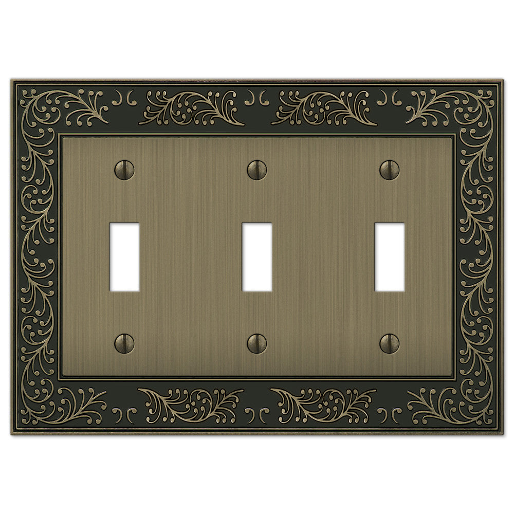 English Garden Brushed Brass Cast - 3 Toggle Wallplate - Wallplate Warehouse