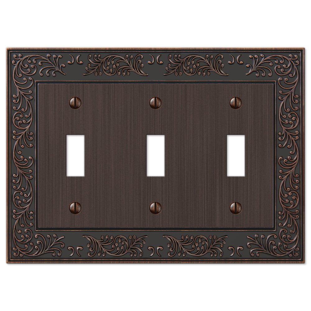 English Garden Aged Bronze Cast - 3 Toggle Wallplate - Wallplate Warehouse