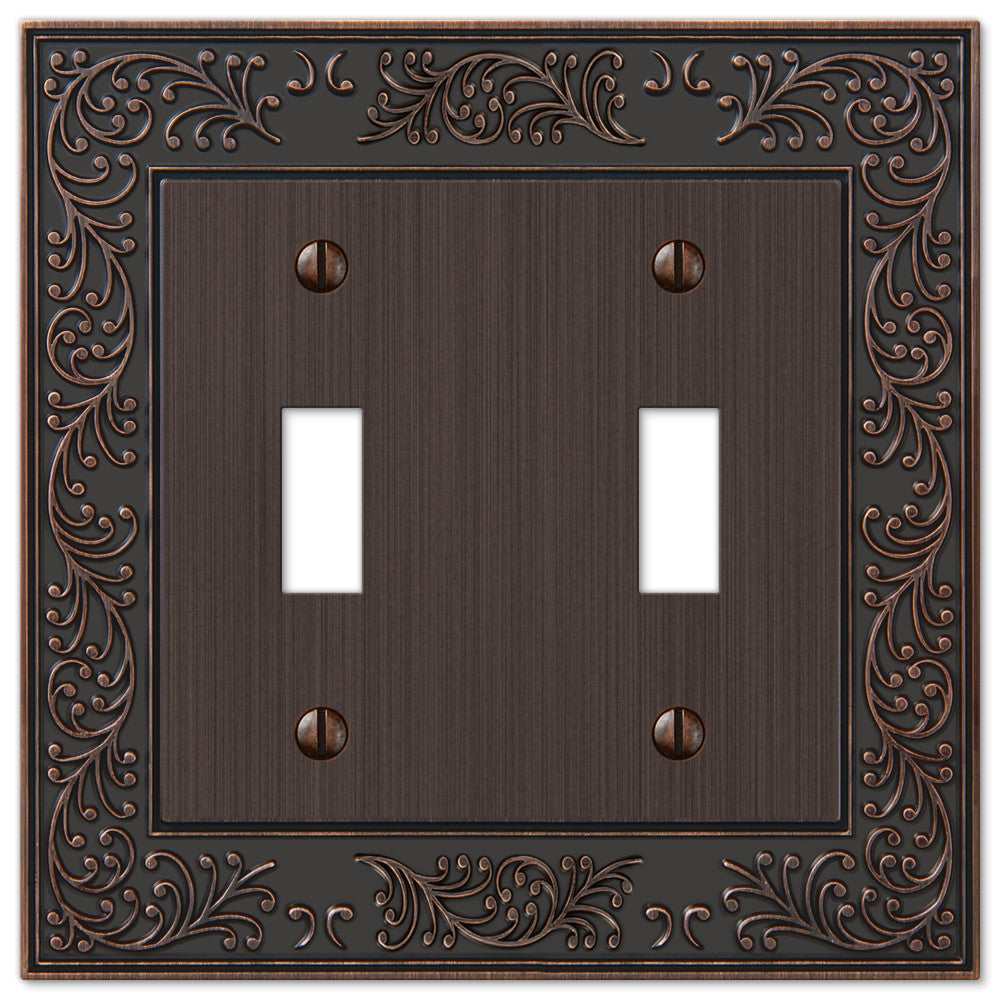 English Garden Aged Bronze Cast - 2 Toggle Wallplate - Wallplate Warehouse