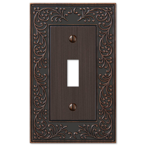 English Garden Aged Bronze Cast - 1 Toggle Wallplate - Wallplate Warehouse