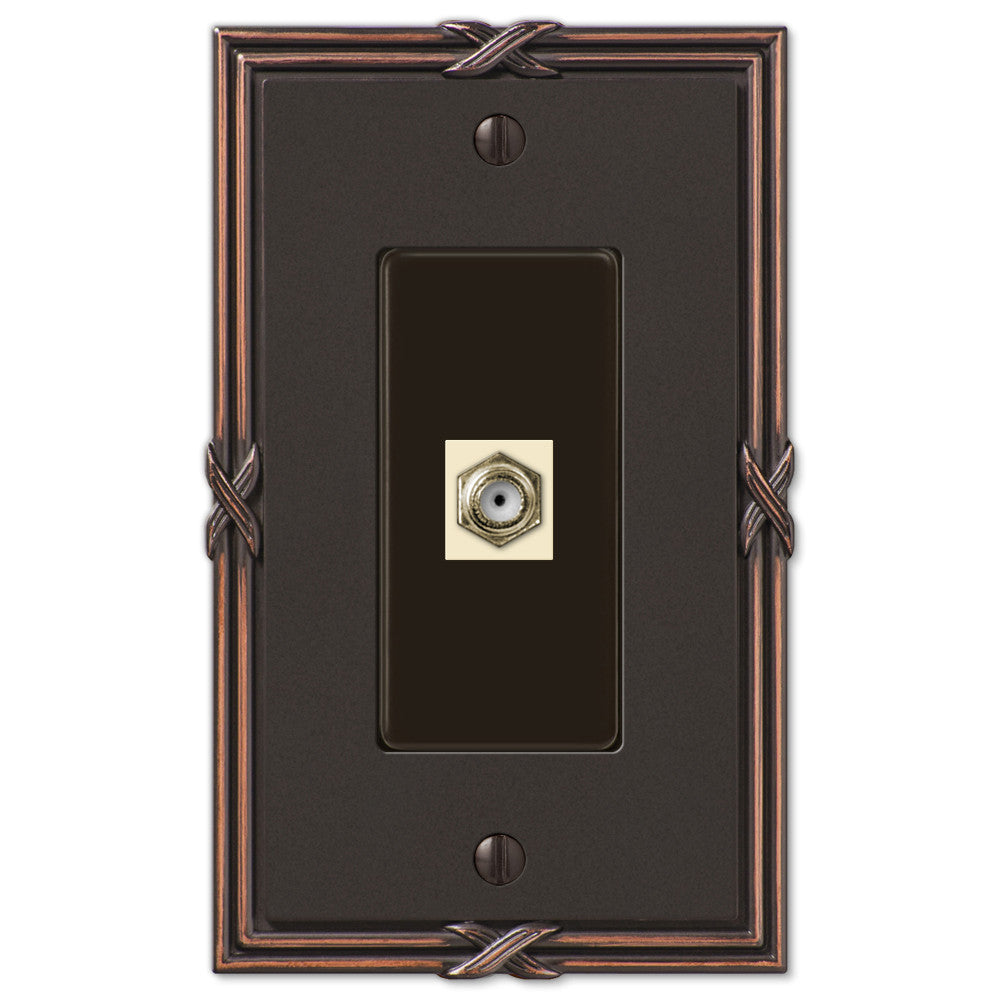 Ribbon & Reed Aged Bronze Cast - 1 Cable Jack Wallplate - Wallplate Warehouse