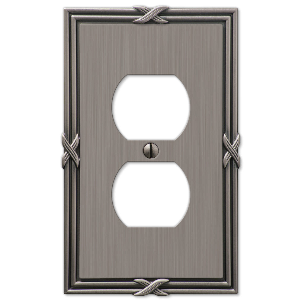 Ribbon & Reed Antique Nickel Cast - 1 Duplex Outlet Wallplate - Wallplate Warehouse