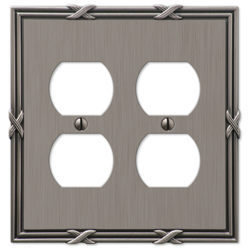 Ribbon & Reed Antique Nickel Cast - 2 Duplex Outlet Wallplate - Wallplate Warehouse